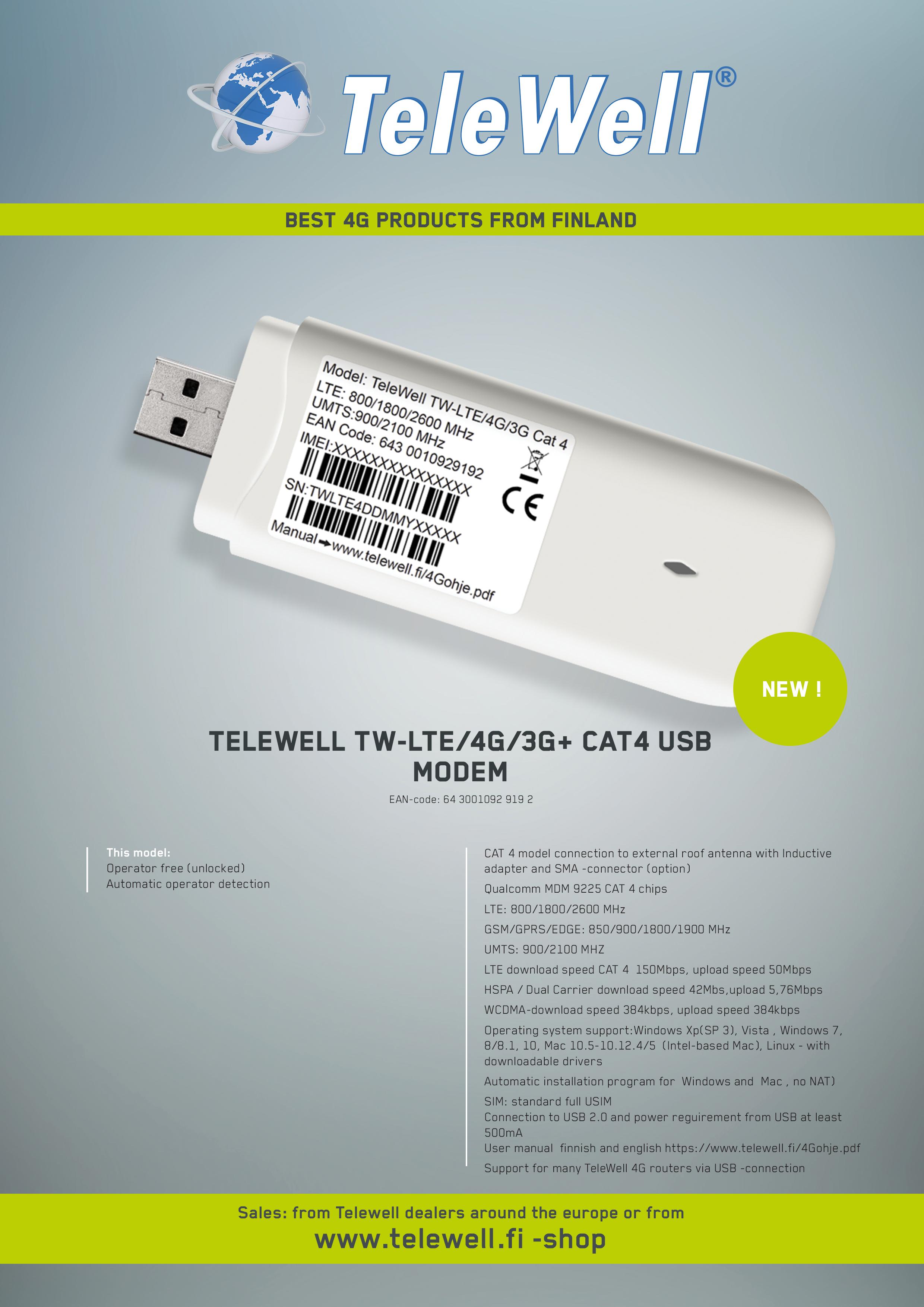 Telewell - TW-LTE/4G/3G Cat 4 modem